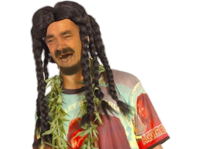 Sticker risitas baba cool punk a chien bedo beuh seventies 70 peace bob marley cannabis hippie