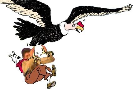 Sticker tintin jesus quintero levant les bras tenant condor oiseau vautour milou chien bd francaise issou fdp