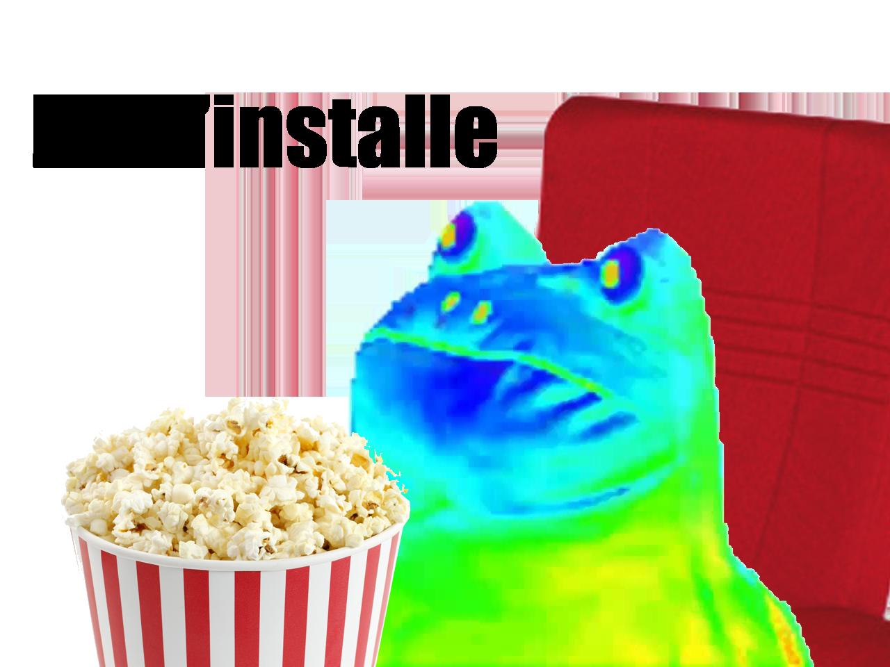 Sticker other grenouille cinema installe popcorn