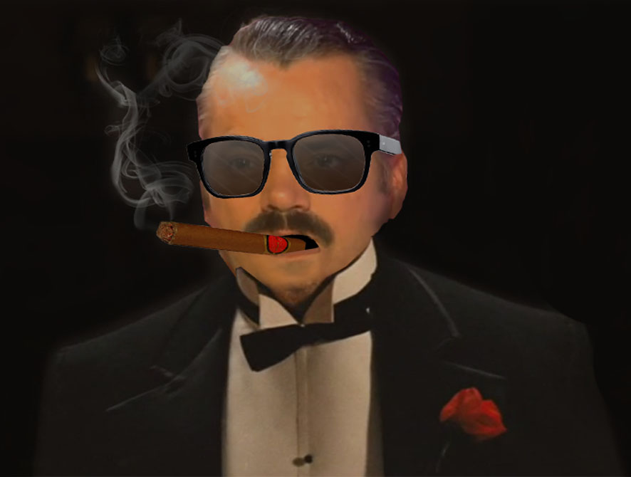 Sticker risitas mafia parrain gang mafieux cigare fume fumer style classe elegance costume cosa nostra camorra godfather cigarette smoke italie