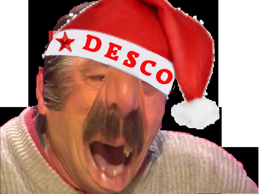 Sticker desco chanclure noel monstre deforme pere bonnet rouge risitas