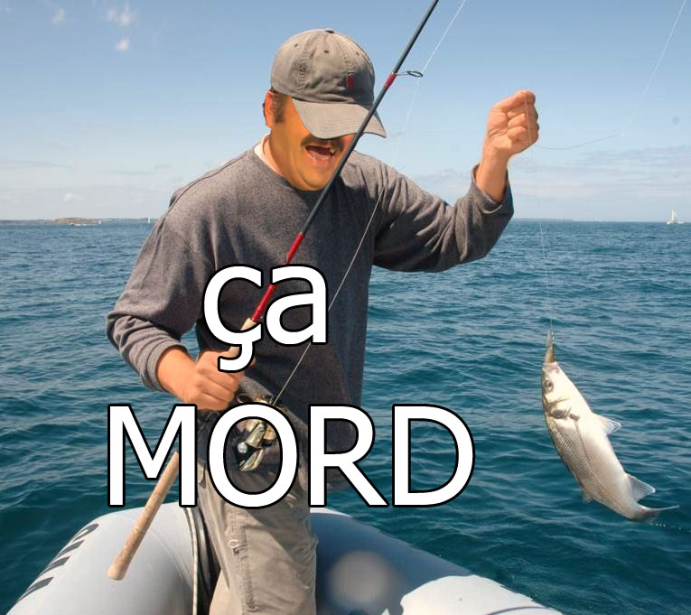 Sticker risitas mord capture piege pecheur peche feed mord poisson rire issou casquette bateau