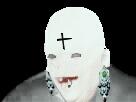 Sticker risitas morgan priest chauve souris paranormal urbex croix sombre dark gothique fantome noir ghost nuit piercing boucles oreilles cancer