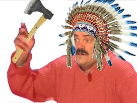 Sticker risitas chef amerindien amerique coiffe plume chapeau hache tomahawk ataoy guerre guerrier raid hd