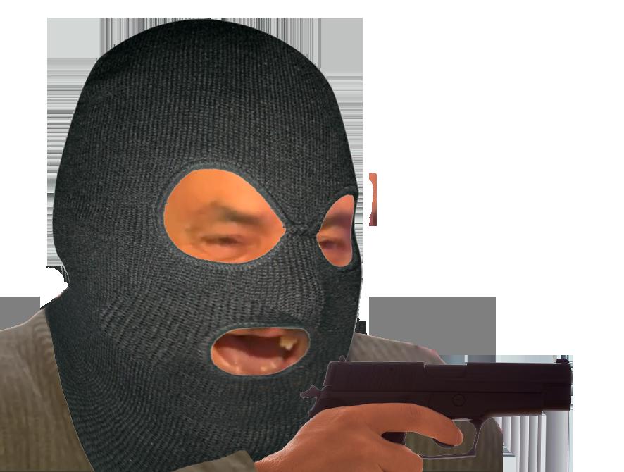 Sticker risitas braqueur gangster loubard delinquant cagoule arme pistolet braquage meutre