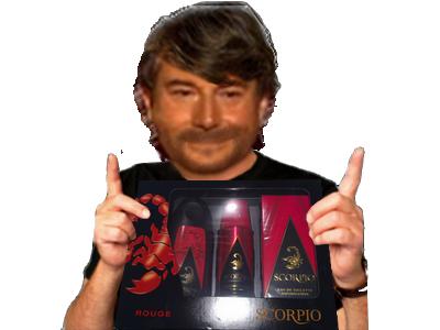 Sticker risitas jesus scorpio cadeau noel coffret parfum prolo anniversaire fete heureux triste content bg beau gosse mulet