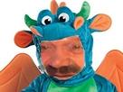 Sticker risitas eussou mignon dragon costume vert feu rigolo