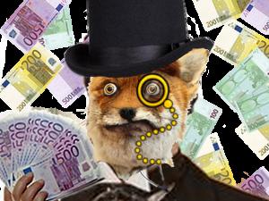 Sticker risitas riche renard monocle argent billets fox