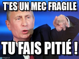 Sticker politic poutine fragile pd homme virile pitie mec tapette russie