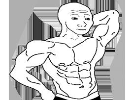 Sticker other wojak 4chan kek go muscu musculation sport halteres squat muscles athlete bg keke fonte