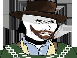 Sticker other wojak 4chan kek western cowboy paysan chapeau ouest americain