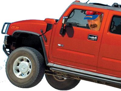 Sticker risitas hummer rouge saut jump 4x4 rire