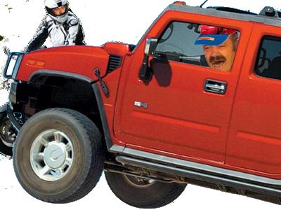 Sticker hummer rouge motard risitas jesus chauffard 4x4 600 gsxr pilote fou danger renverse deux roues