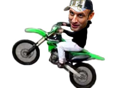 Sticker politic macron wesh moto cross mono roue