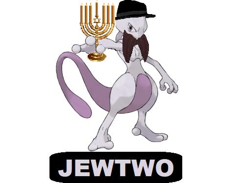 Sticker mewtwo pokefeuj jew juif pokemon psy legendaire rabbin menorah