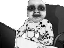 Sticker risitas pyjama creepy peur nuit noir blanc horreur monstre