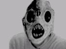 Sticker risitas monstre noir blanc nuit horreur creepy peur