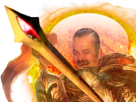 Sticker risitas league of legends lol kayle champion justiciere epee chevalier guerrier combattant ange armure femme fille meuf ailes runeterra rire casque invicible tinnova