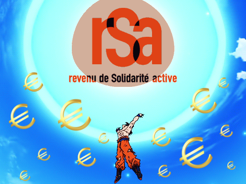Sticker kikoojap dbz dragon ball super manga genkidama boule energie soutien rsa esclave revenu social solidarite euros argent songoku sangoku tinnova
