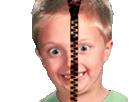 Sticker other fou debile tare dingue enfant fermeture eclair deguisement costume anonyme