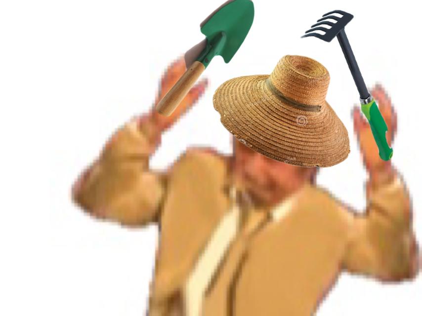 Sticker risitas jesus jardinier potager terre pelle chapeau de paille jardin terreau issou rateau terre pelle