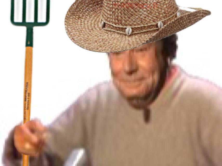 Sticker risitas jesus issou jardinier jardin jardinage terre rateau chapeau de paille rire fourche