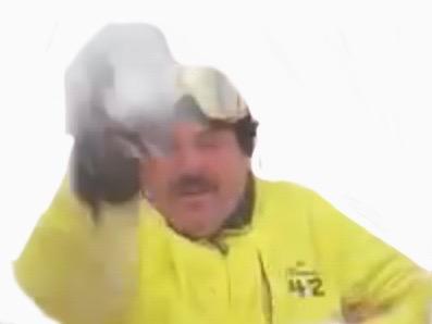 Sticker risitas au ski lance boule de neige