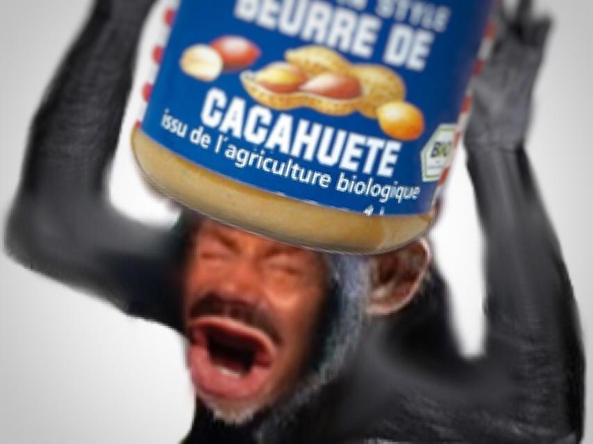 Sticker risitas singe mongole consommation beurre de cacahuete nutella americain eussou bras en lair pot