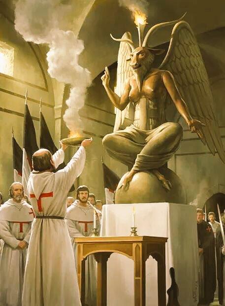Sticker politic templier satan baal culte christianisme