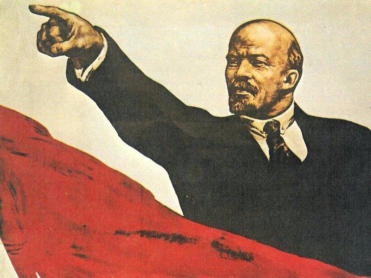 Sticker politic lenine affiche urss communisme socialisme gauche drapeau rouge