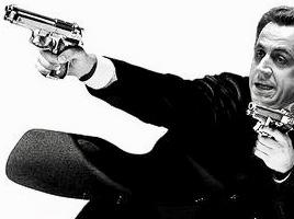 Sticker politic sarkozy le transporteur flingue arme sarkozy nicolas scarface sarko gangster libye prison thug thuglife bandit racaille crime parrain mafia jason statham
