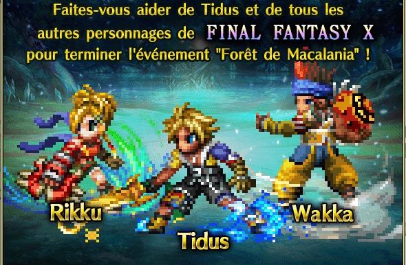1 an de Final Fantasy Brave Exvius, arrivée de Tidus Wakka et rikku