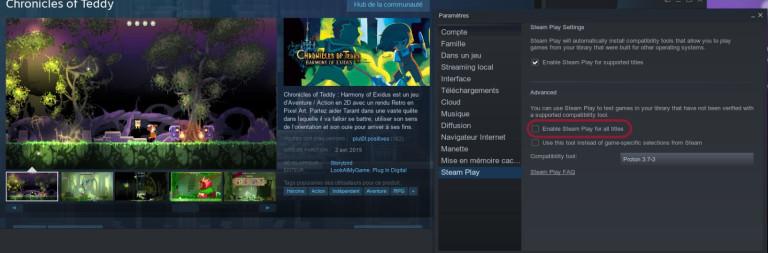 La version beta de Steam permet de forcer Proton sur l'ensemble des titres disponibles