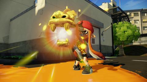 Une Inkling orange avec le Bazookarpe