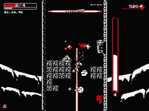 Downwell, un jeu indépendant japonais de tir vertical