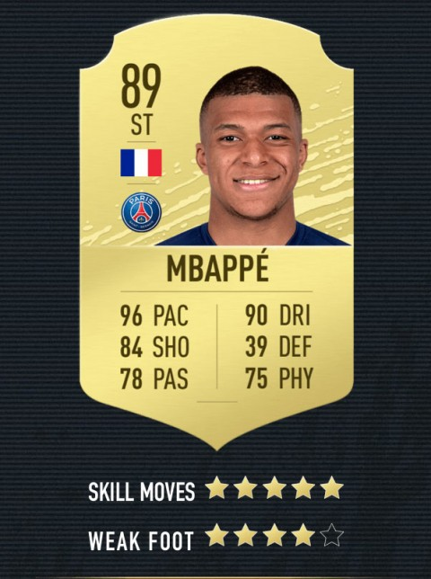 mbappe  note FIFA 20