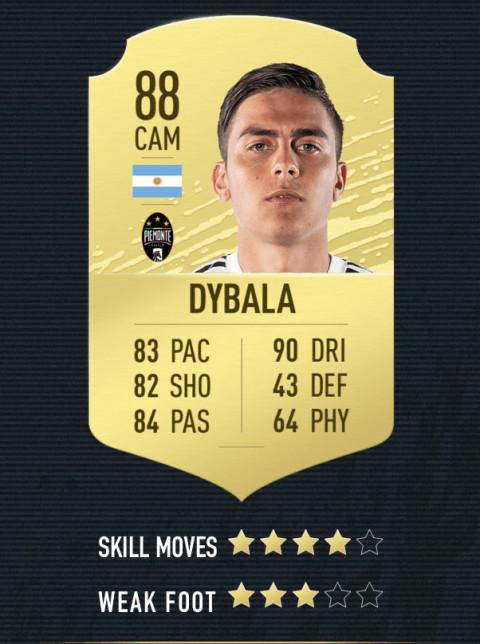 dybala note FIFA 20