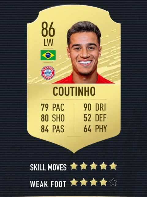 coutinho note FIFA 20