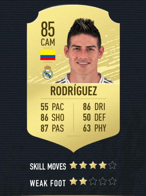 james rodriguez note FIFA 20