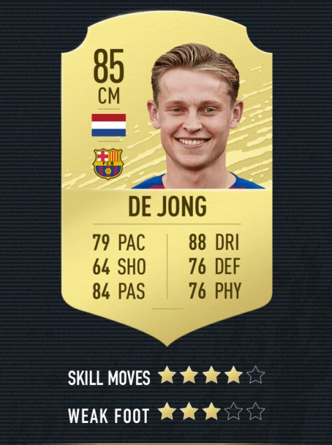 de jong note FIFA 20