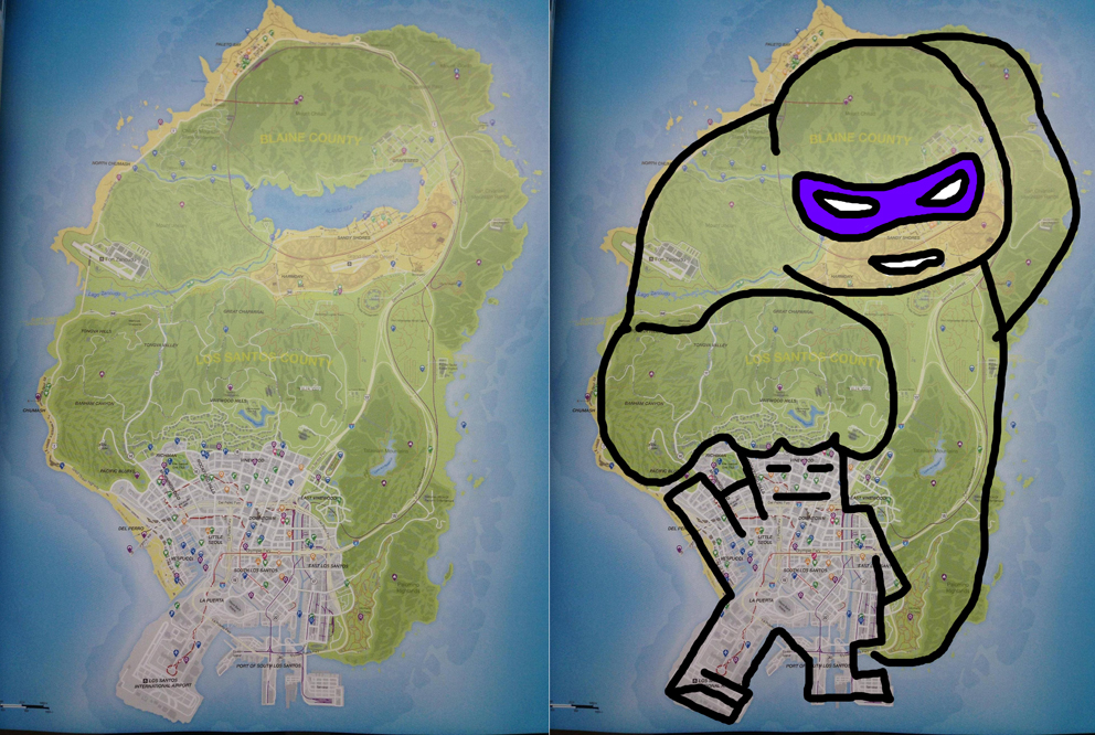 The truth about the GTA V map | IGN Boards on modern combat map, socom map, grand theft auto map, burlington map, gta2 map, la noire map, hilton guam map, gta3 map, halo map, need for speed map, the sims map, skyrim map, vice city map, earn to die 2 map, toronto map, igi 3 map, game map, gtav map, gat map, carcer city map,