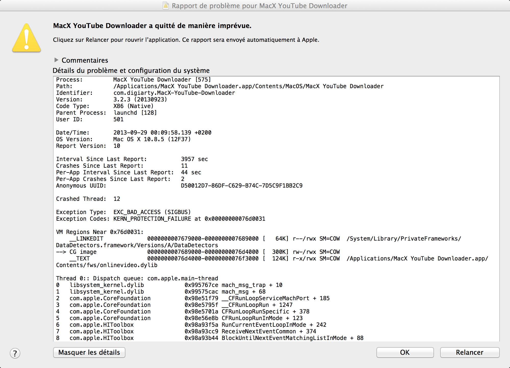 Erreur MacX Youtube Downloader sur le forum Macintosh - 29