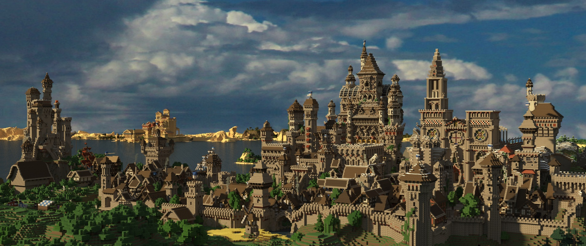Group of Minecraft City Wallpaper With