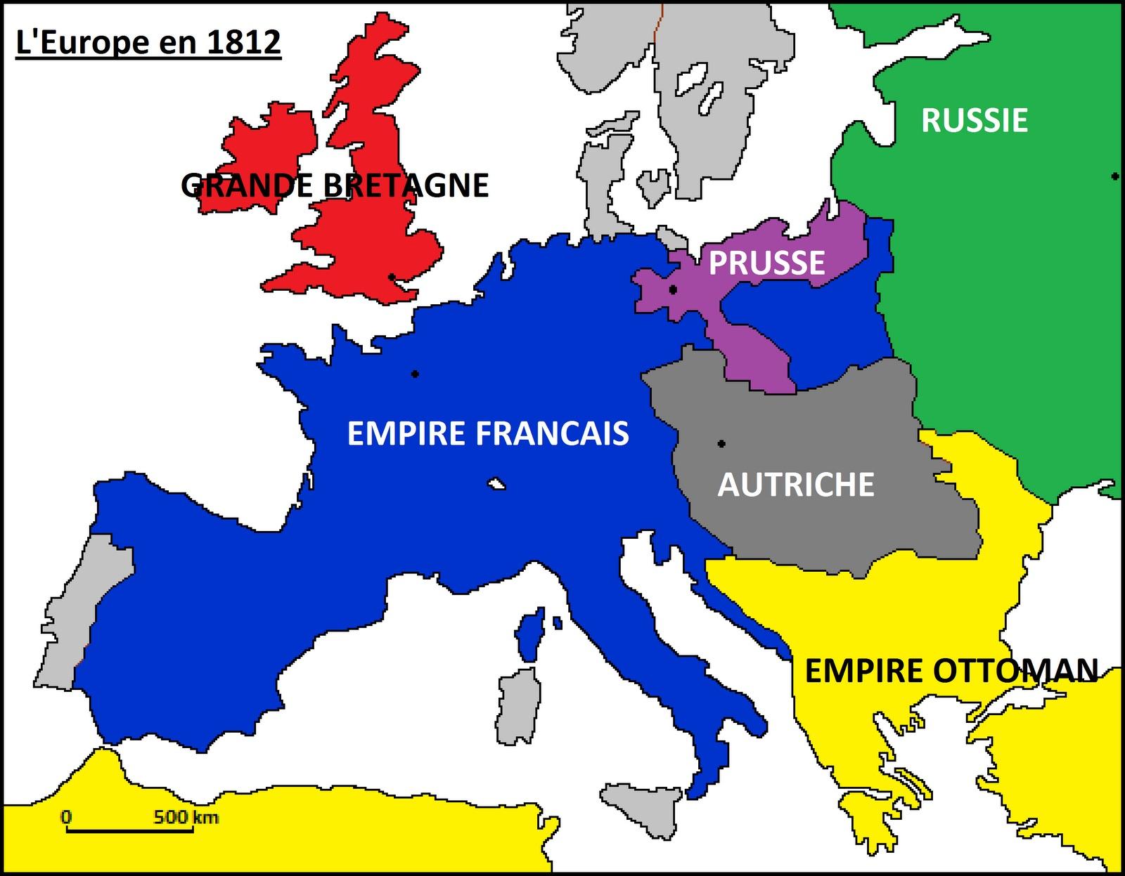 Carte De Leurope Sous Napoleon.La France Est Le Pays Ayant Remportee Le Plus De Victoires