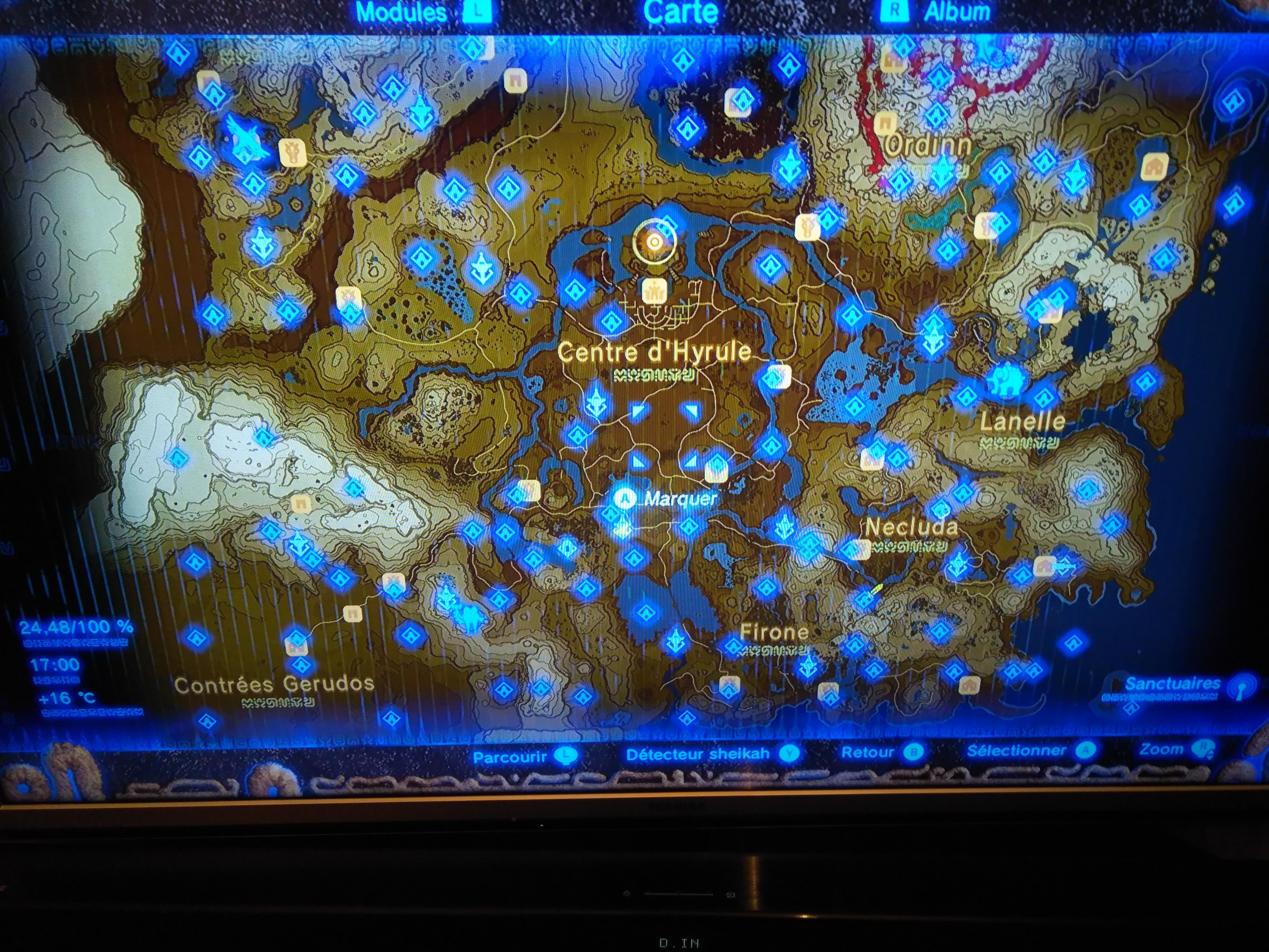 Carte De Tous Les Sanctuaires Zelda Breath Of The Wild